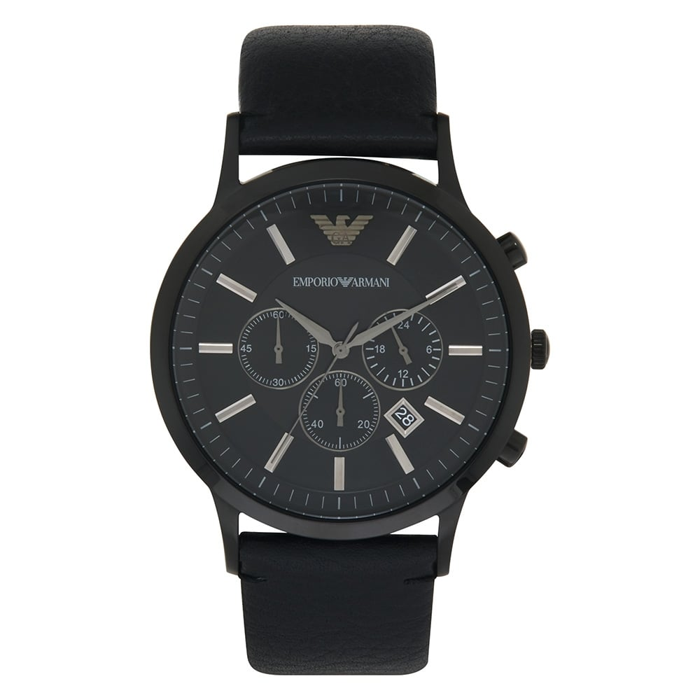 AR2461 Armani Gents Full Black Genuine Leather Watch