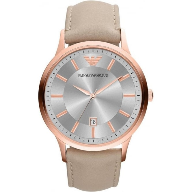 Armani Watches AR2464 Light Beige Leather Mens Renato Watch