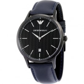 Armani Watches AR2479 Men's Blue Herringbone Pattern Dial Leather Watch