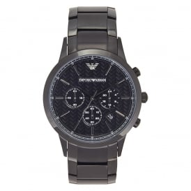 AR2485 Men's Black Steel Bracelet Chronograph Watch
