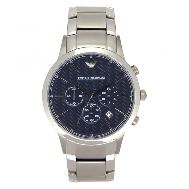 Armani Watches AR2486 Men's Steel Bracelet and Blue Dial Chronograph Watch