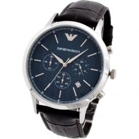 Armani Watches AR2494 Men's Herringbone Patterned Blue Dial & Brown Croc Chronograph Leather Watch