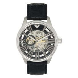 AR4629 Silver & Black Leather Meccanico Men's Watch
