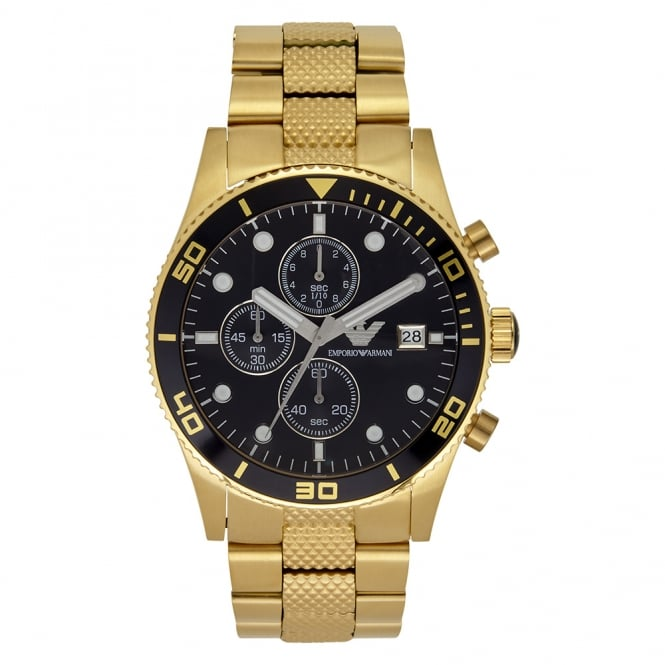 Armani Watches AR5857 Gold Stainless Mens Watch PVD gold plate