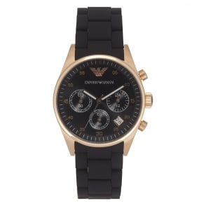 Armani Watches AR5906 Black and Rose Gold Womens Chronograph Watch