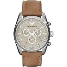 Armani Watches AR6040 Brown Leather Mens Chronograph Watch