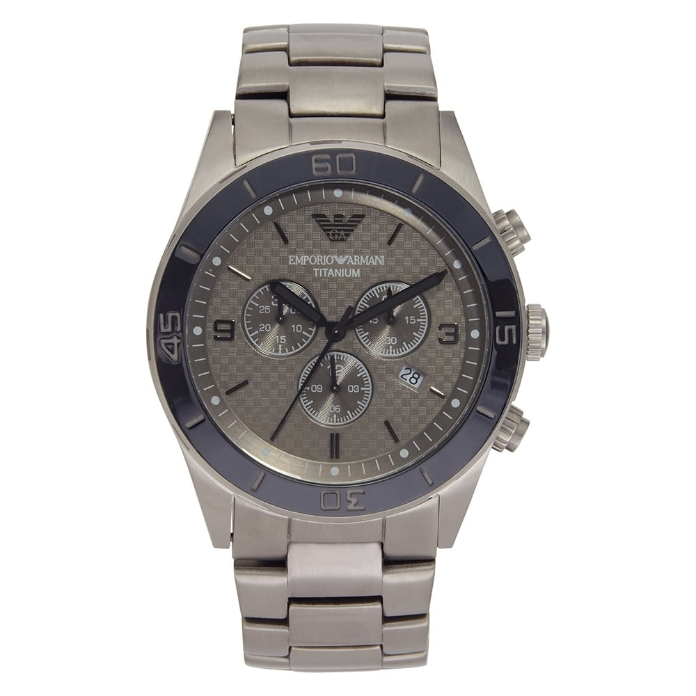 ar9502 emporio armani mens grey titanium chronograph