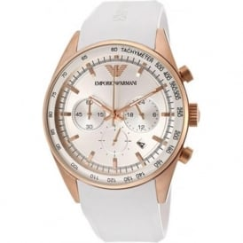 Armani Watches AR5979 White Silicon & Rose Gold Mens Watch