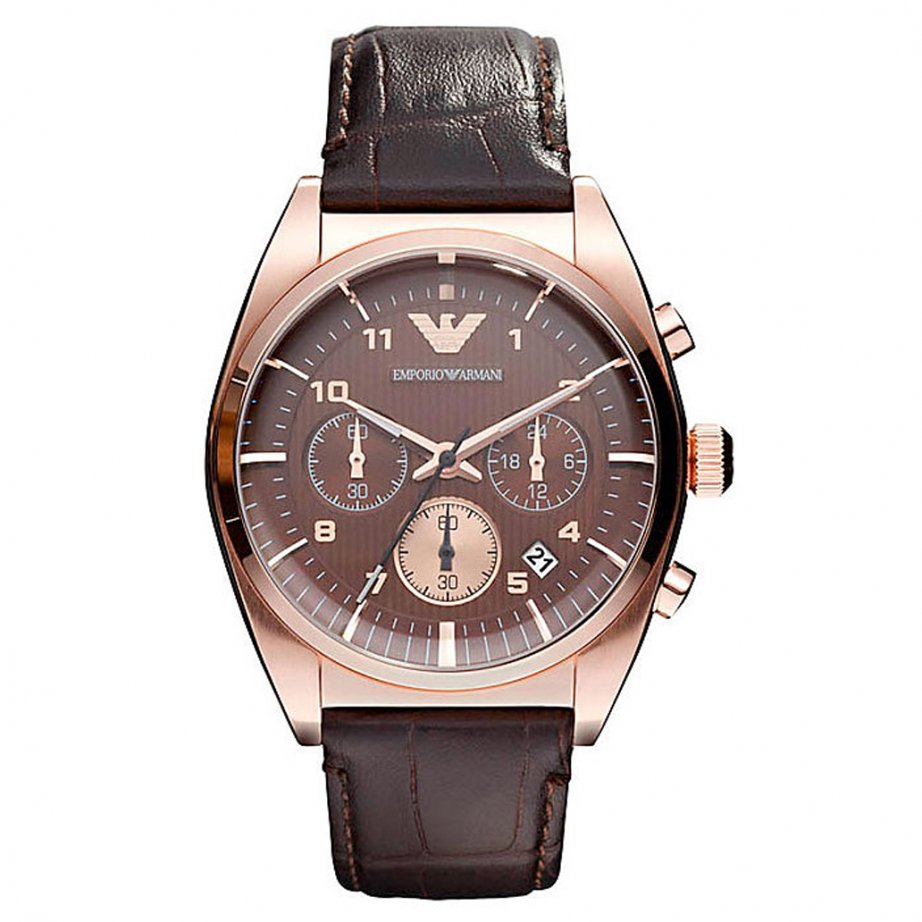 ar0371 armani men 39 s brown leather and rose gold watch for. Black Bedroom Furniture Sets. Home Design Ideas
