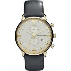 Armani Watches AR0386 Black Leather & Gold Tone Men's Watch