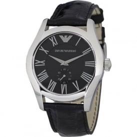Armani Watches AR0643 Armani Black&Silver Leather Men's Watch