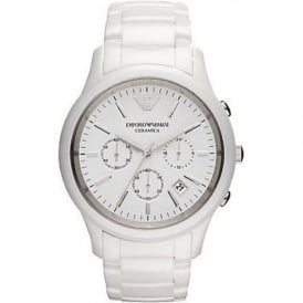 Armani Watches AR1453 White Ceramic Chronograph Mens Watch