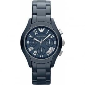 Armani Watches AR1470 Blue Ceramic Chronograph Ladies Watch