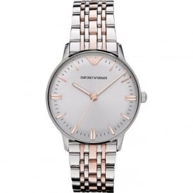 Armani Watches AR1603 Rose Gold & Silver Stainless Steel Ladies Watch