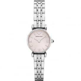 Armani Watches AR1781 Pink Mother of Pearl & Silver Stainless Steel Ladies Watch
