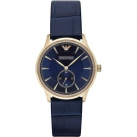 Armani Watches AR1848 Gold & Blue Leather Mens Watch