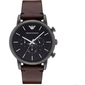 Armani Watches AR1919 Black & Brown Leather Chronograph Mens Watch