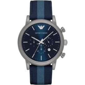 Armani Watches AR1949 Silver & Blue Nylon Mens Watch