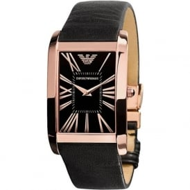 Armani Watches AR2034 Armani Black&Rose Gold Leather Men's Watch