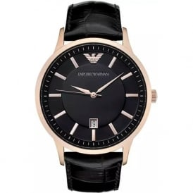 Armani Watches AR2425 Armani Black&Rose Gold Leather Men's Watch