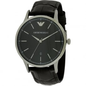 Armani Watches AR2480 Men's Herringbone Patterned Dial Brown Leather Watch