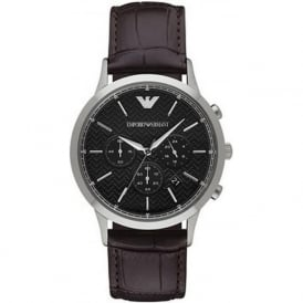 Armani Watches AR2482 Men's Herringbone Patterned Dial Brown Leather Chronograph Watch