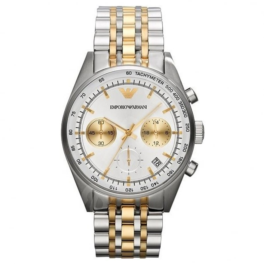 ar6116 armani mens gold and silver chronograph