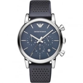 Armani Watches AR1736 Blue Leather Mens Chronograph Watch
