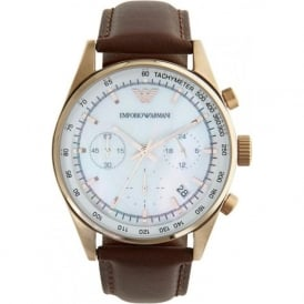 Armani Watches Classic Brown Leather Ladies Chronograph Watch AR5996