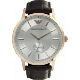Armani Watches Classic Brown Leather Men's Stainless Steel Watch AR9101