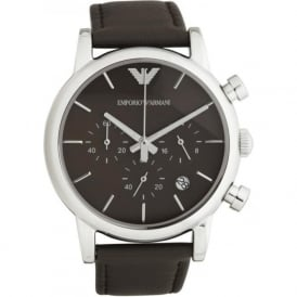 Armani Watches Grey Leather Mens Chronograph Watch AR1734