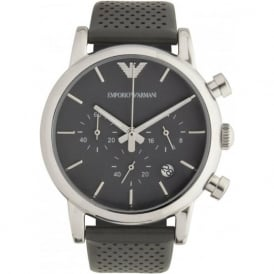 Armani Watches Deep Gray Leather Mens Chronograph Watch AR1735
