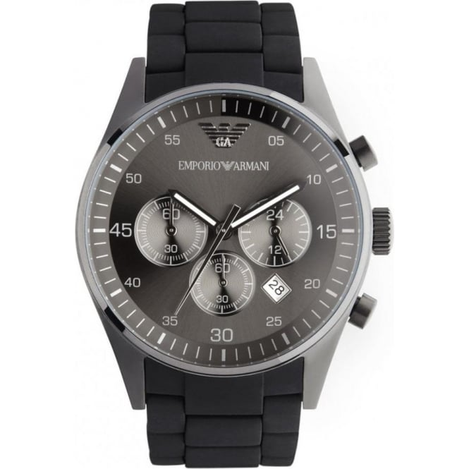Armani Watches Mens Sports Black Steel Watch AR5889