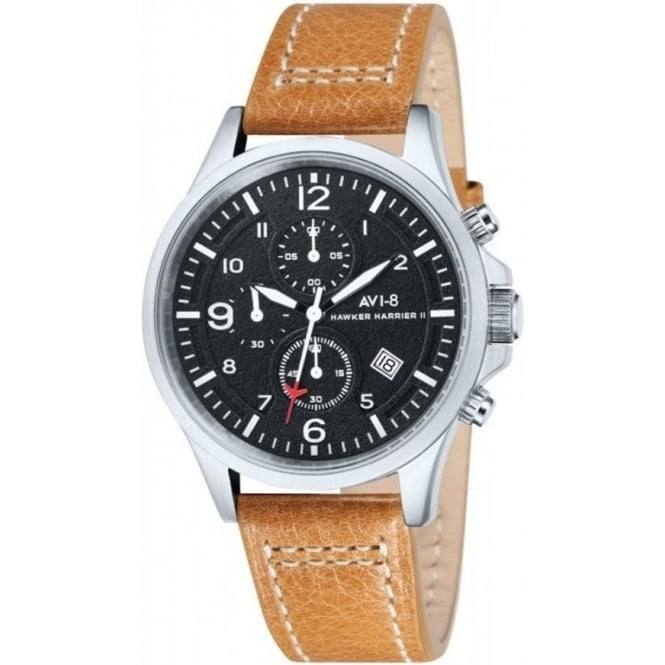 AVI-8 AV-4001-02 Hawker Harrier II Brown Leather Chronograph Watch