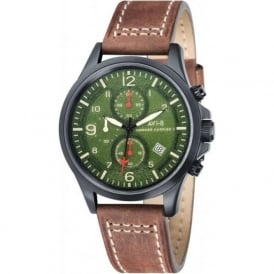 AVI-8 AV-4001-04 Hawker Harrier II Green & Dark Brown Leather Chronograph Watch