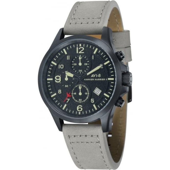 AVI-8 AV-4001-08 Hawker Harrier II Black Steel & Grey Leather Chronograph Watch