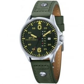 AV-4003-09 Hawker Harrier II Dark Green Leather Day & Date Watch