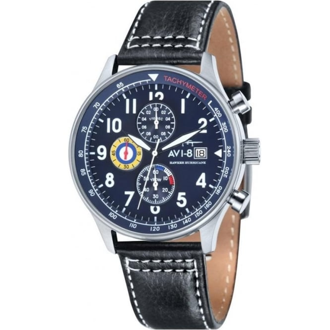 AVI-8 AV-4011-03 Hawker Hurricane Blue & Black Leather Chronograph Watch