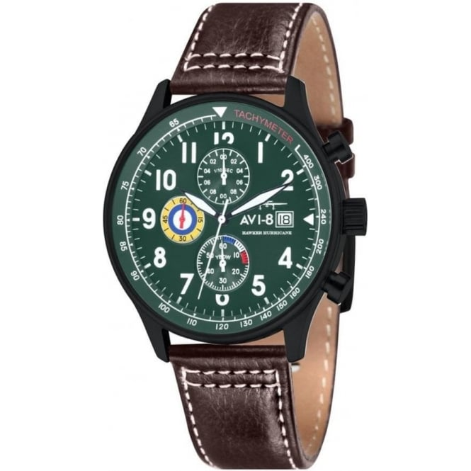 AVI-8 AV-4011-05 Hawker Hurricane Green & Brown Leather Chronograph Watch