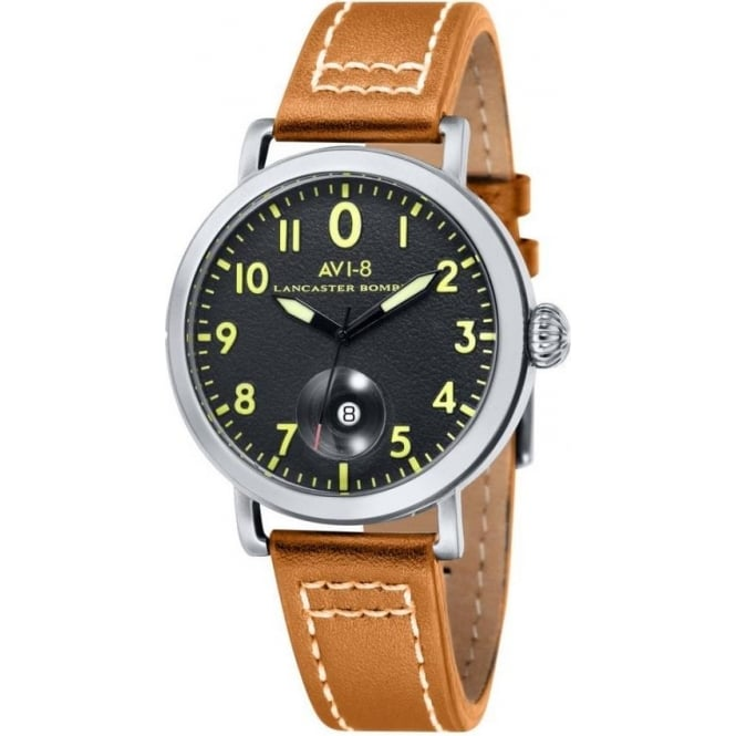 AVI-8 AV-4020-02 Lancaster Bomber Black & Light Tan Leather Watch
