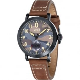 AV-4020-06 Lancaster Bomber Camo & Brown Leather Watch