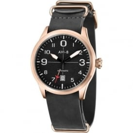 AV-4021-04 Flyboy Rose Gold & Grey Leather Nato Automatic Watch