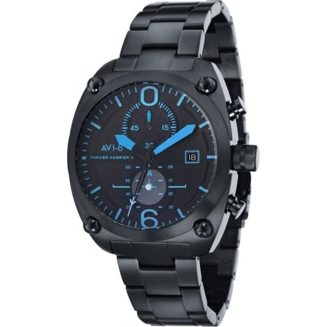 AVI-8 AV-4037-13 Hawker Harrier II Blue & Black Steel Chronograph Watch