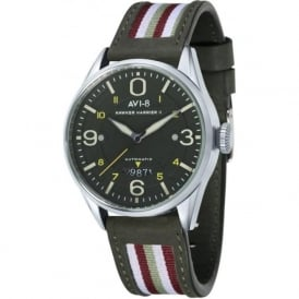 AVI-8 AV-4040-02 Hawker Harrier II Green Leather Automatic Watch