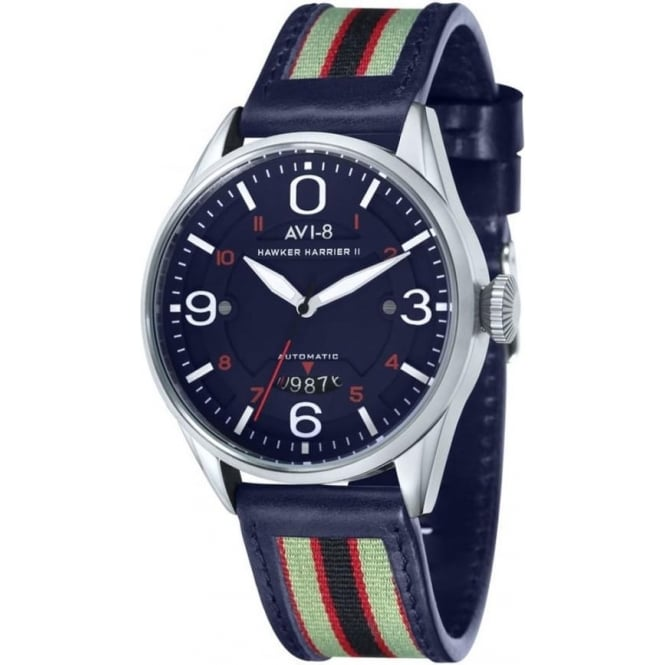 AVI-8 AV-4040-03 Hawker Harrier II Blue Leather Automatic Watch