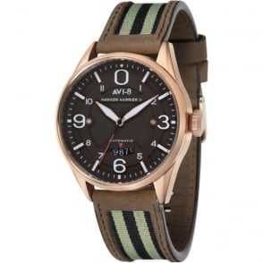 AVI-8 AV-4040-05 Hawker Harrier II Rose Gold & Brown Leather Automatic Watch