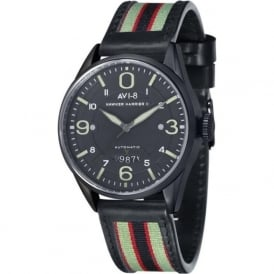 AV-4040-06 Hawker Harrier II Black Steel & Black Leather Automatic Watch