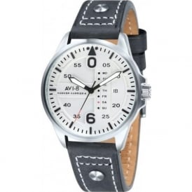 AVI-8 AV-4003-01 Hawker Harrier II Grey Leather Day & Date Watch