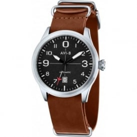 AVI-8 AV-4021-01 Flyboy Black & Dark Tan Leather Nato Automatic Watch