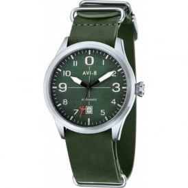 AVI-8 AV-4021-03 Flyboy Green Leather Nato Automatic Watch